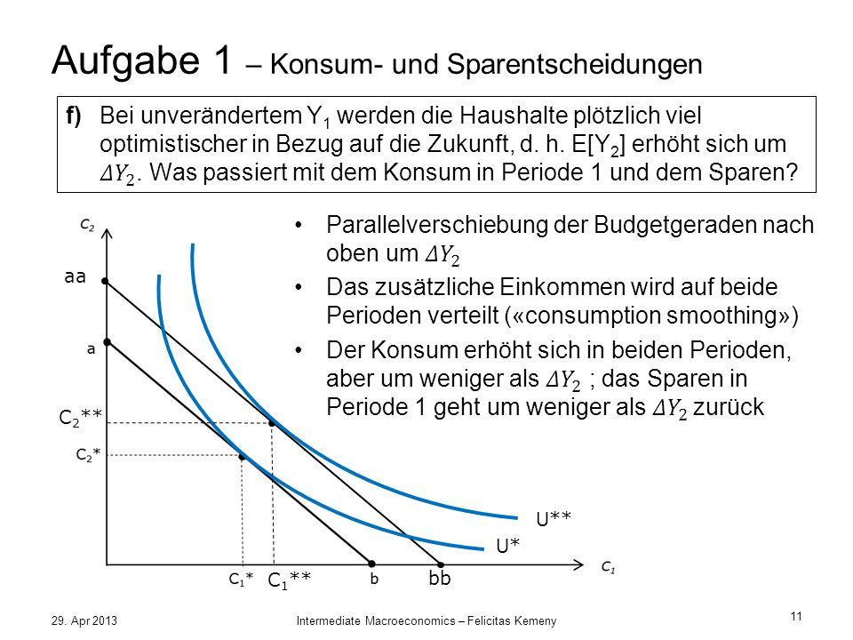 Aufgabe 1 – Konsum- und Sparentscheidungen