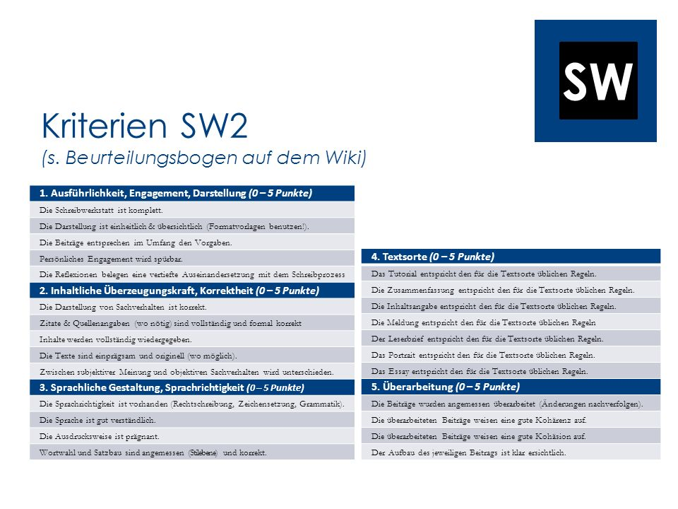 Kriterien SW2 (s. Beurteilungsbogen auf dem Wiki)