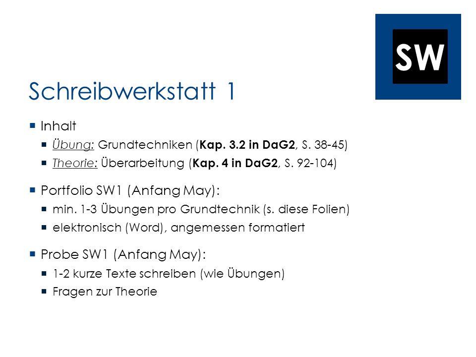 Schreibwerkstatt 1 Inhalt Portfolio SW1 (Anfang May):