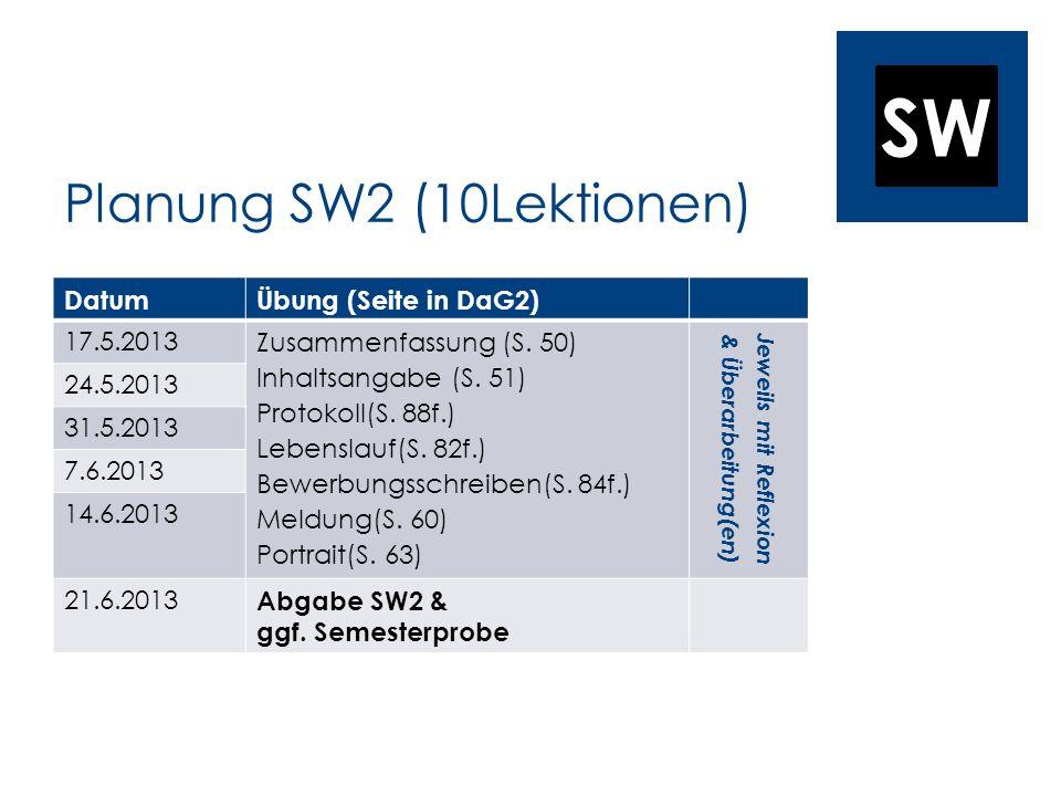 Planung SW2 (10Lektionen)