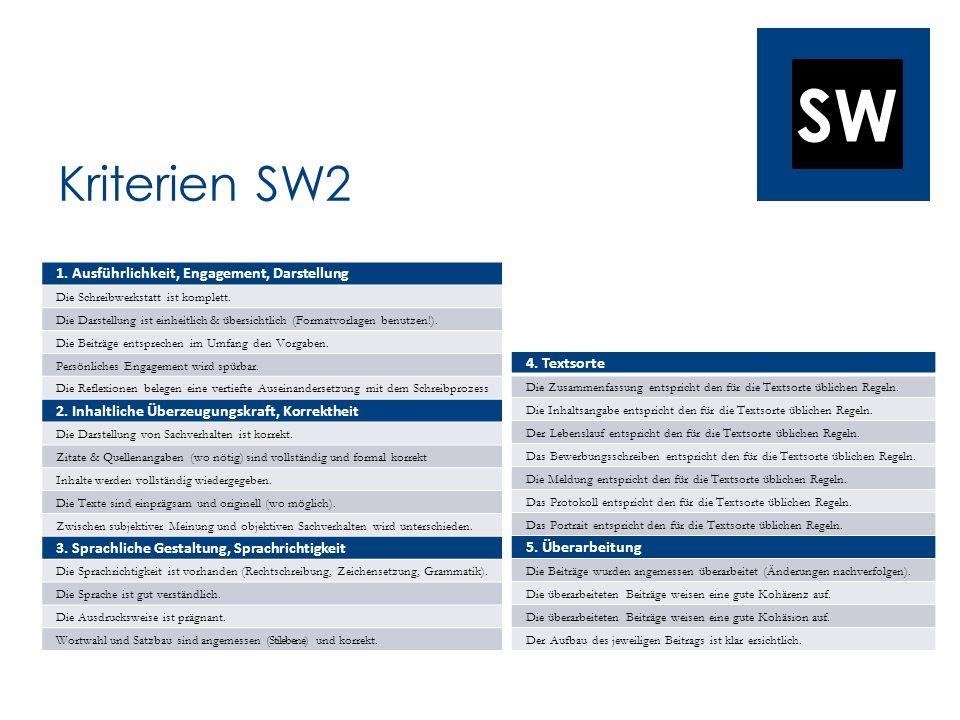 Kriterien SW2 1. Ausführlichkeit, Engagement, Darstellung