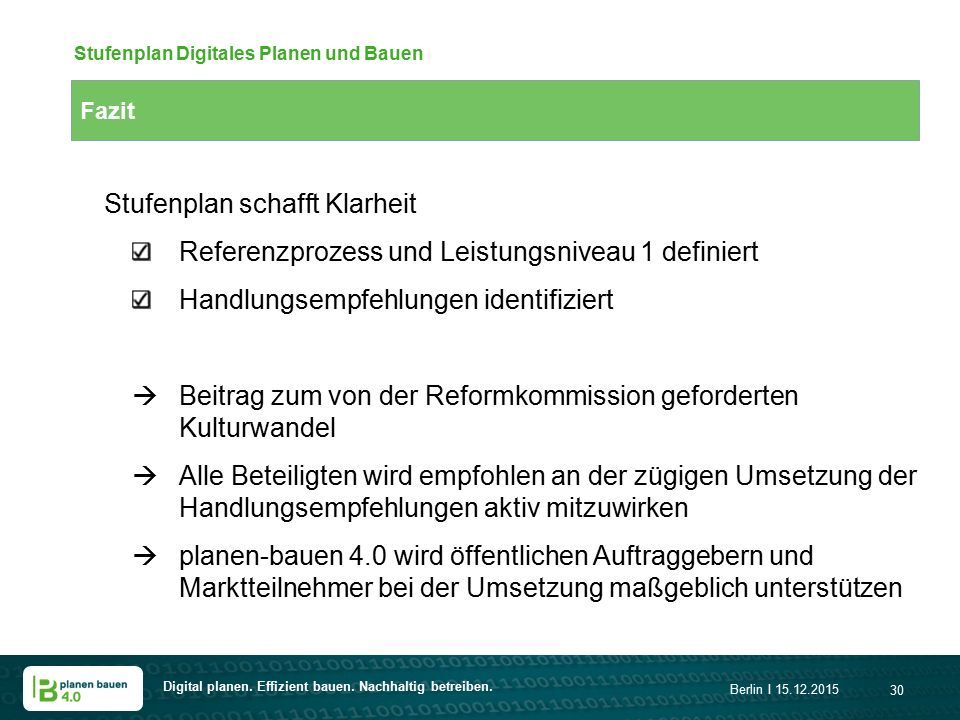 Stufenplan Digitales Planen und Bauen