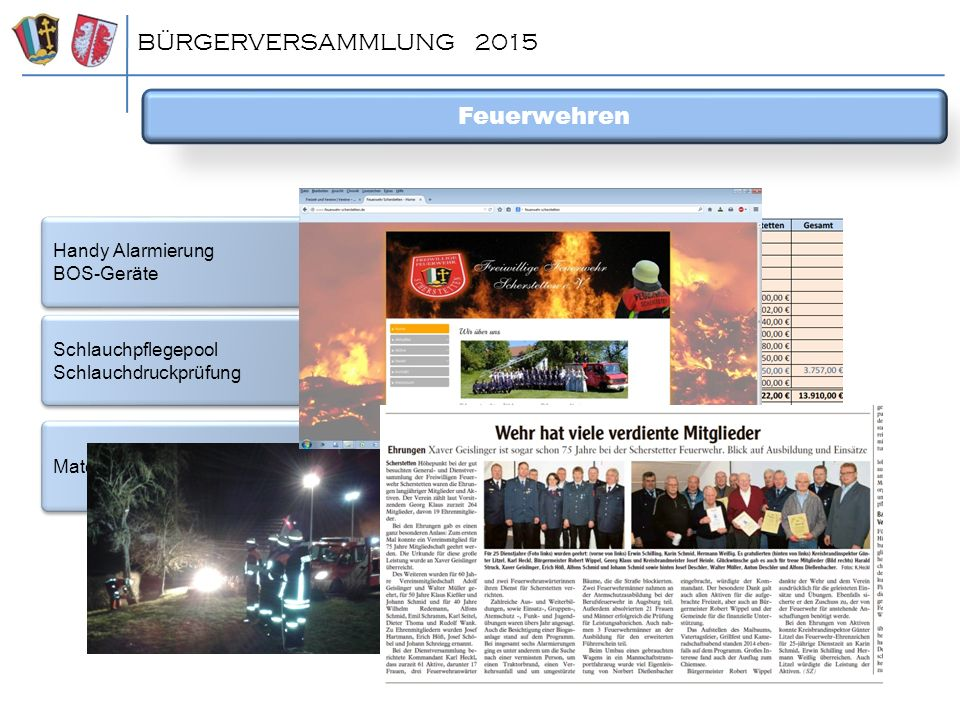 BÜRGERVERSAMMLUNG 2015 Feuerwehren Handy Alarmierung BOS-Geräte