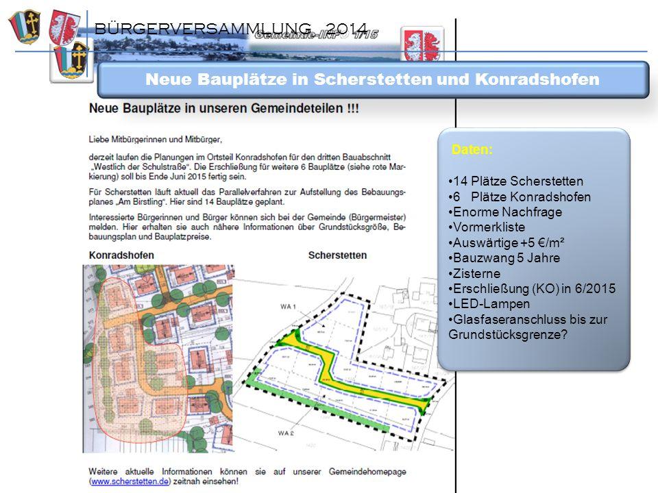Neue Bauplätze in Scherstetten und Konradshofen