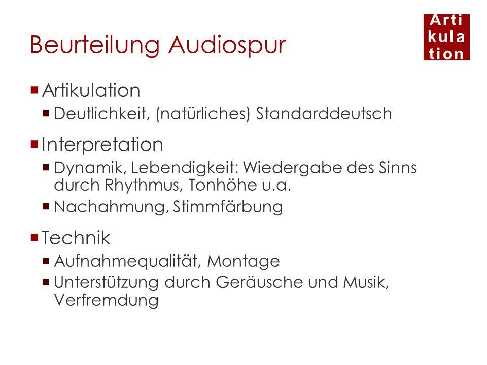 Beurteilung Audiospur