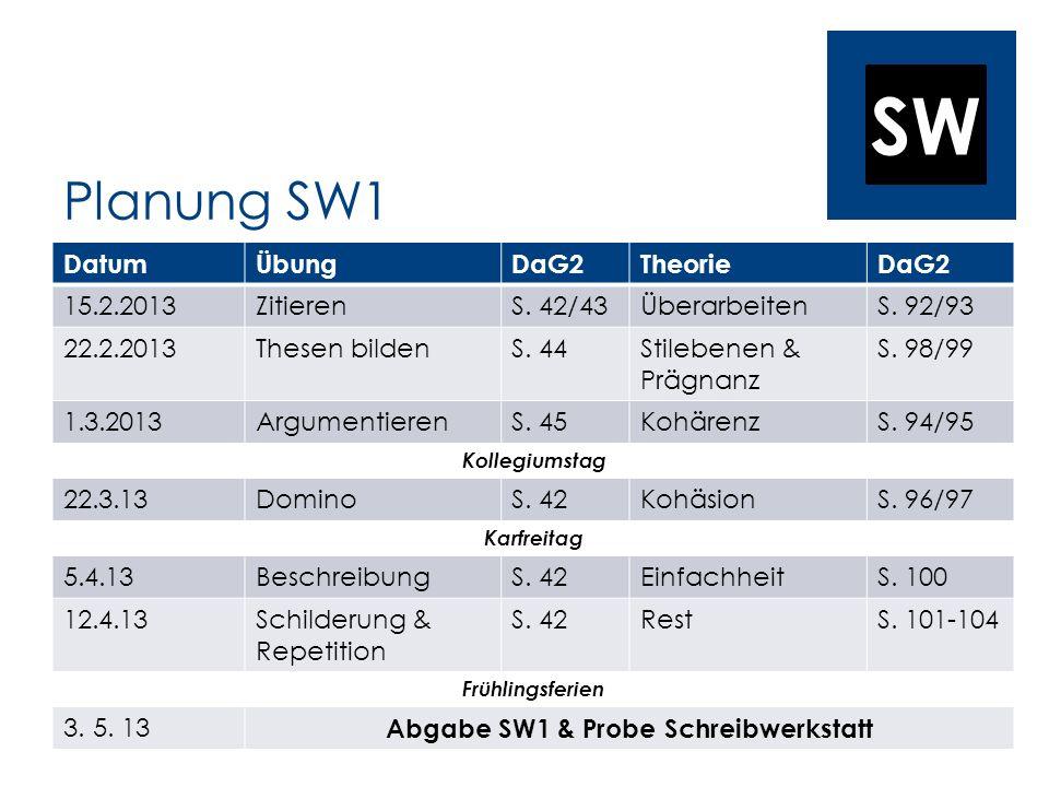 Abgabe SW1 & Probe Schreibwerkstatt