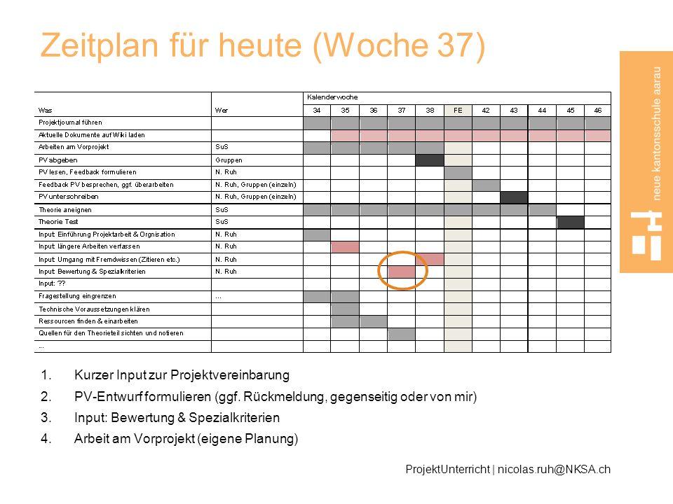 Zeitplan für heute (Woche 37)