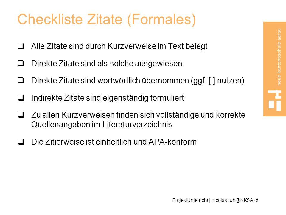Checkliste Zitate (Formales)