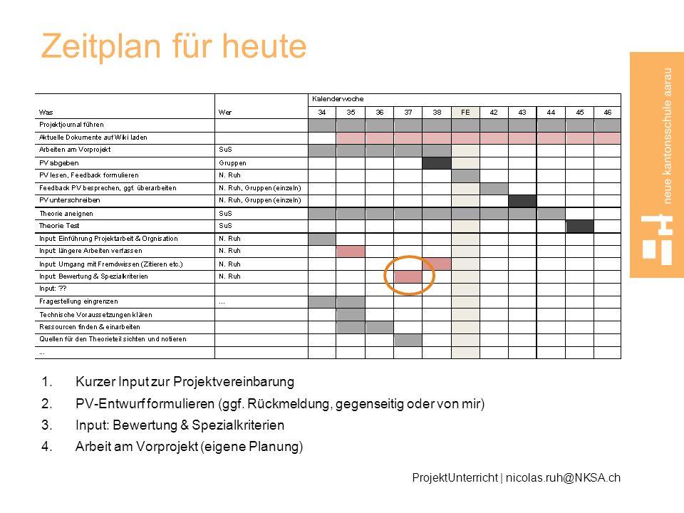 Zeitplan für heute Kurzer Input zur Projektvereinbarung