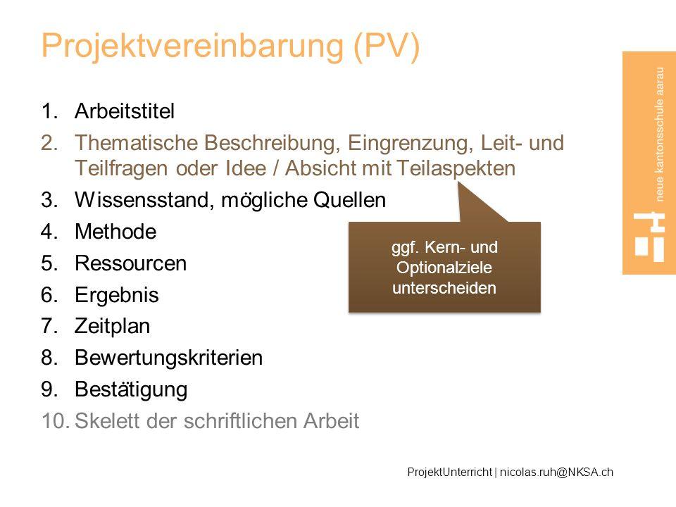 Projektvereinbarung (PV)