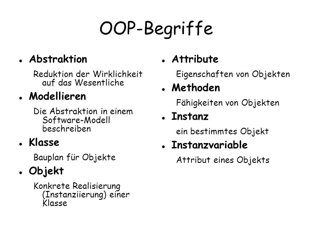 OOP-Begriffe Abstraktion Modellieren Klasse Objekt Attribute Methoden