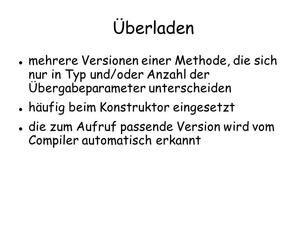 Überladen mehrere Versionen einer Methode, die sich nur in Typ und/oder Anzahl der Übergabeparameter unterscheiden.