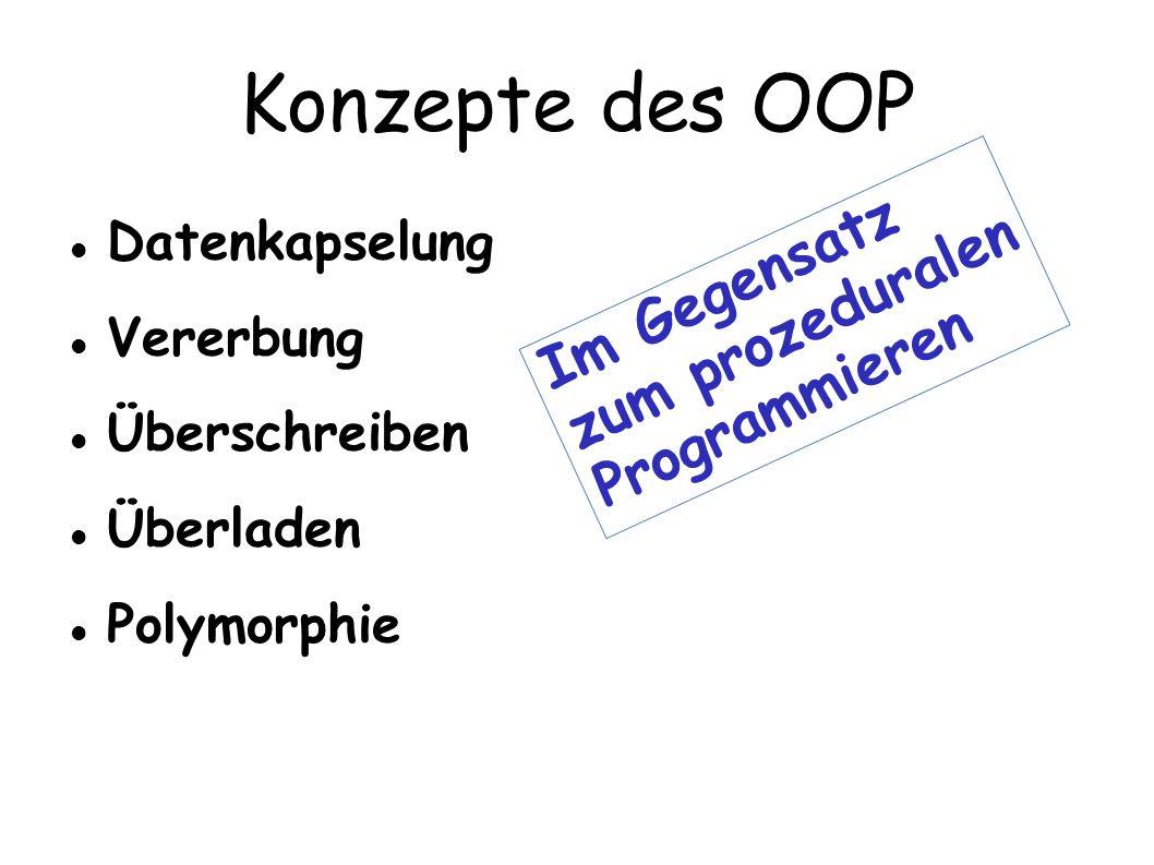 Konzepte des OOP Im Gegensatz zum prozeduralen Programmieren