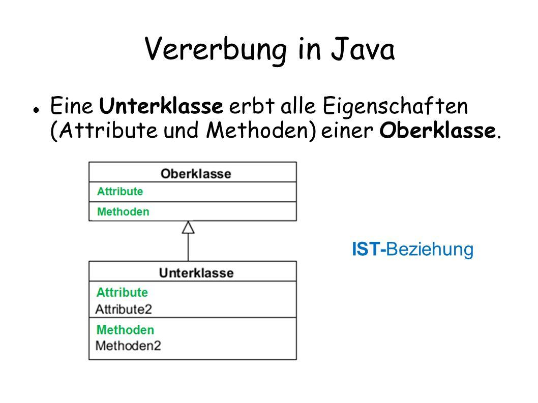 Vererbung in Java Eine Unterklasse erbt alle Eigenschaften (Attribute und Methoden) einer Oberklasse.