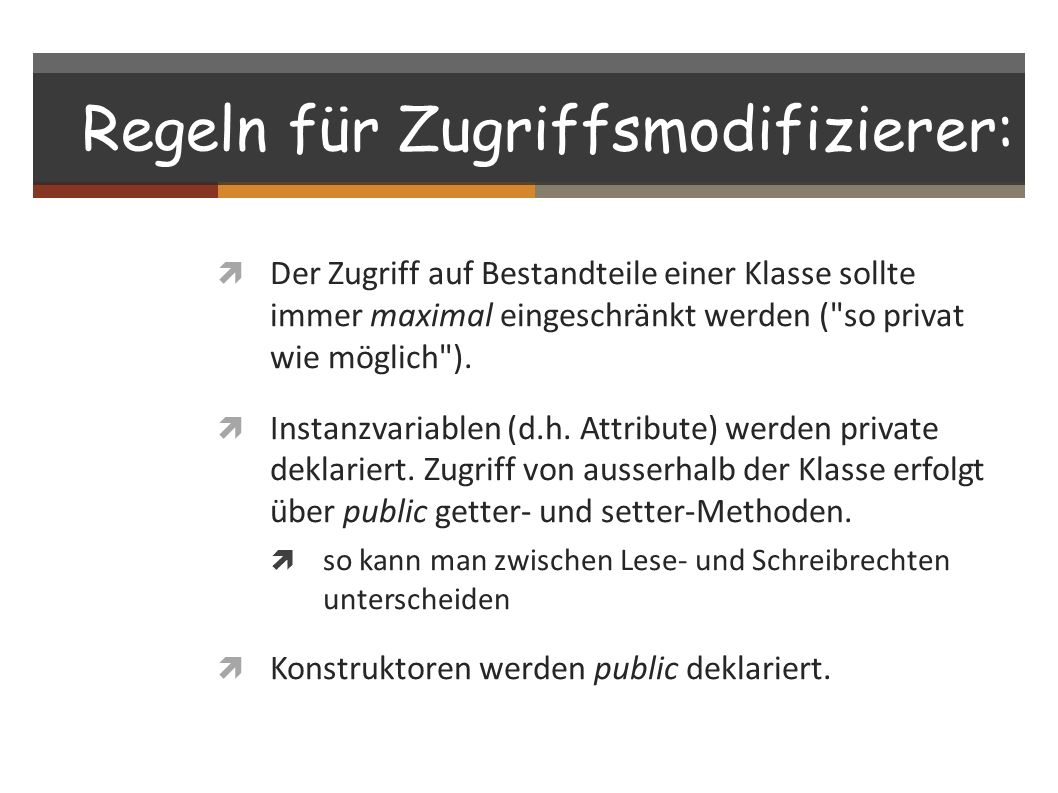 Regeln für Zugriffsmodifizierer: