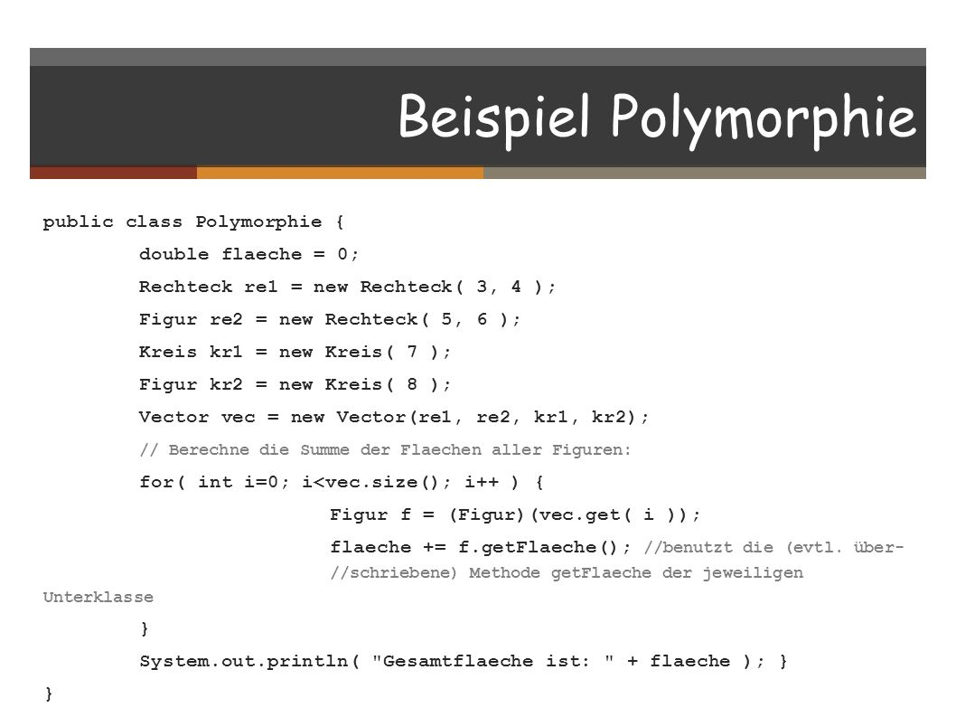 Beispiel Polymorphie
