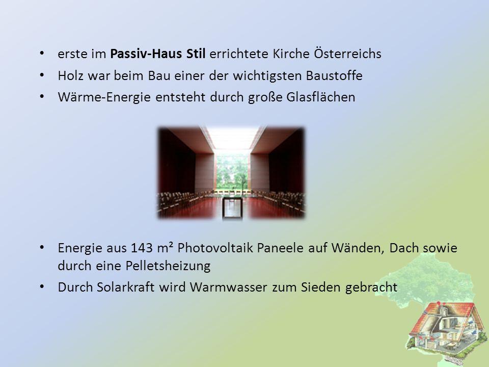 erste im Passiv-Haus Stil errichtete Kirche Österreichs