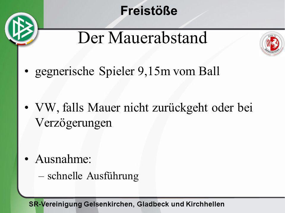 Der Mauerabstand gegnerische Spieler 9,15m vom Ball