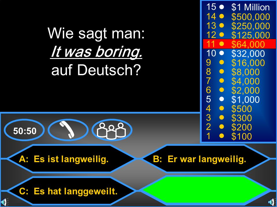 Wie sagt man: It was boring. auf Deutsch 15 $1 Million 14 $500,000 13