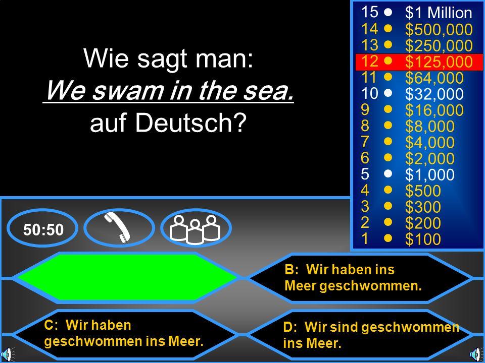 Wie sagt man: We swam in the sea. auf Deutsch 15 $1 Million 14