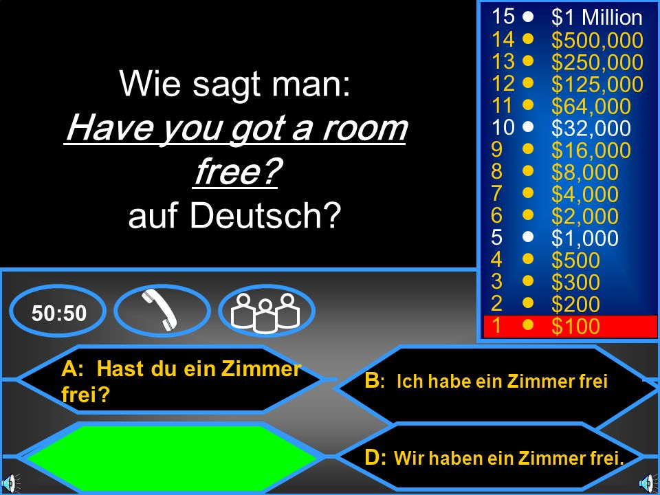 Wie sagt man: Have you got a room free auf Deutsch 15 $1 Million 14
