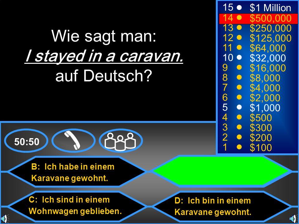 Wie sagt man: I stayed in a caravan. auf Deutsch 15 $1 Million 14