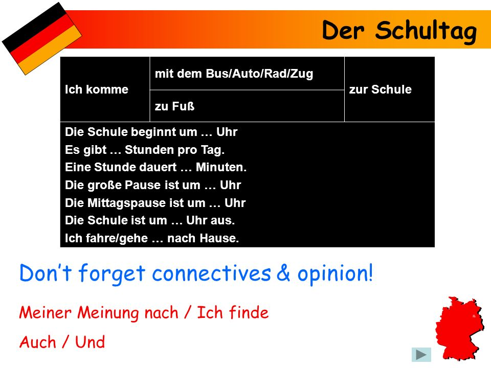 Der Schultag Don't forget connectives & opinion!