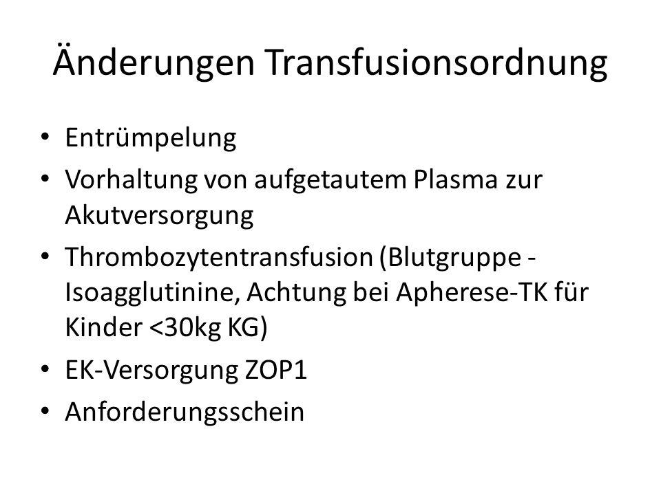 Änderungen Transfusionsordnung