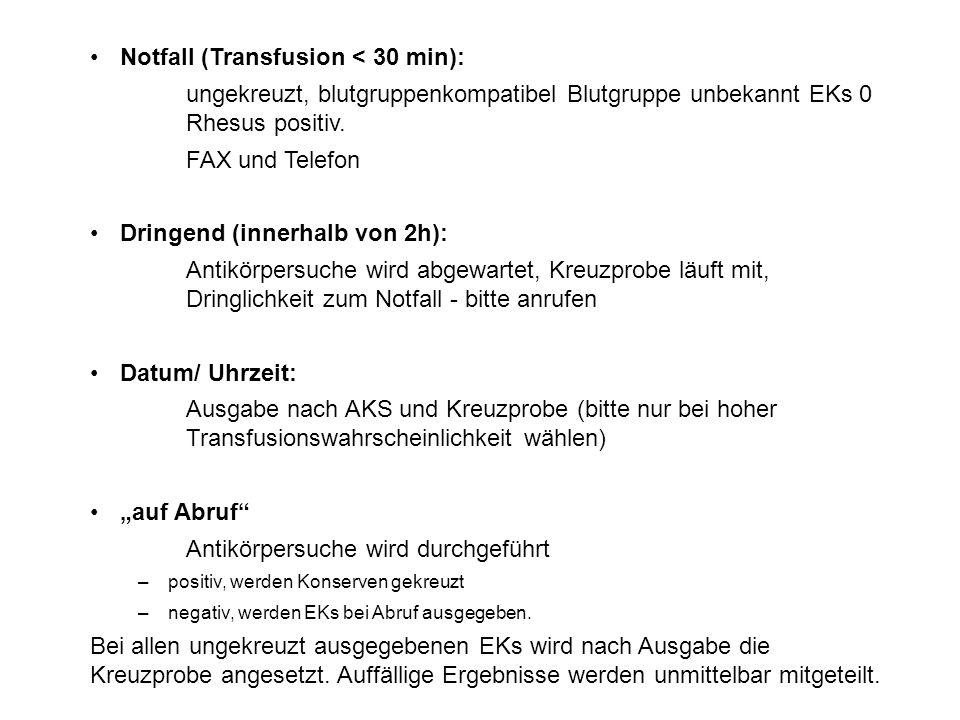 Notfall (Transfusion < 30 min):