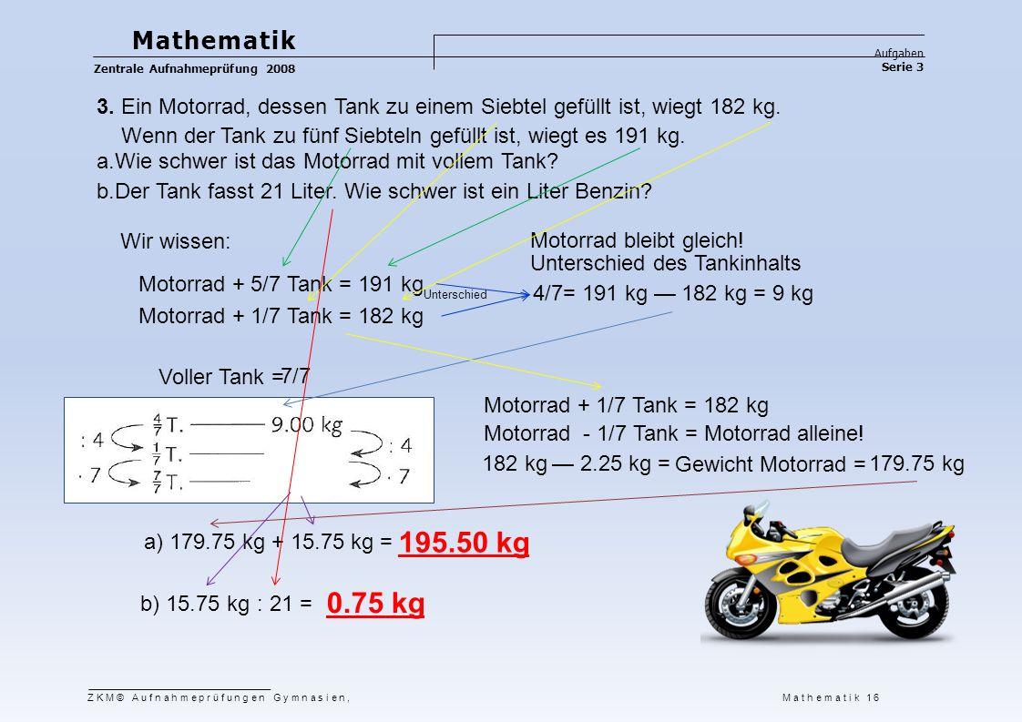 Mathematik Aufgaben. Zentrale Aufnahmeprüfung 2008. Serie 3. 3. Ein Motorrad, dessen Tank zu einem Siebtel gefüllt ist, wiegt 182 kg.