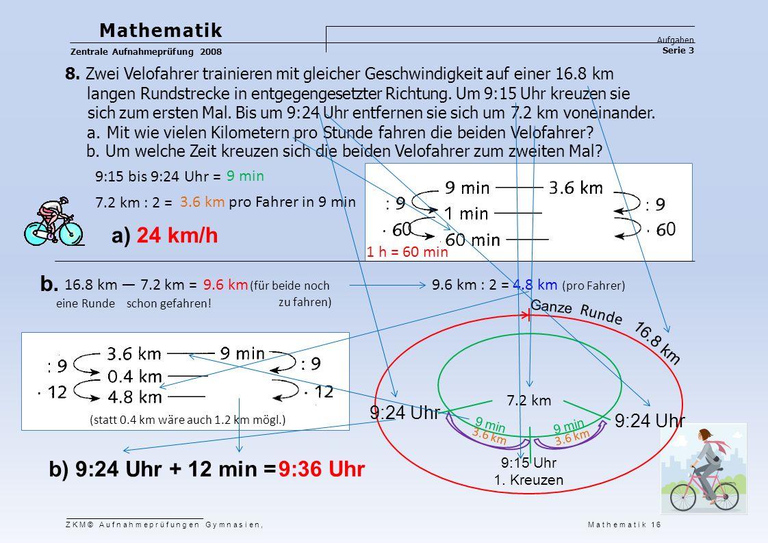 a) 24 km/h b. b) 9:24 Uhr + 12 min = 9:36 Uhr Mathematik 9:24 Uhr