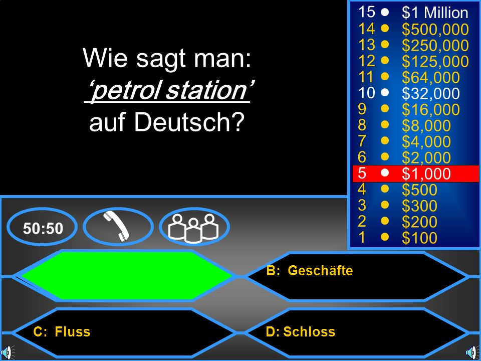 Wie sagt man: 'petrol station' auf Deutsch 15 $1 Million 14 $500,000