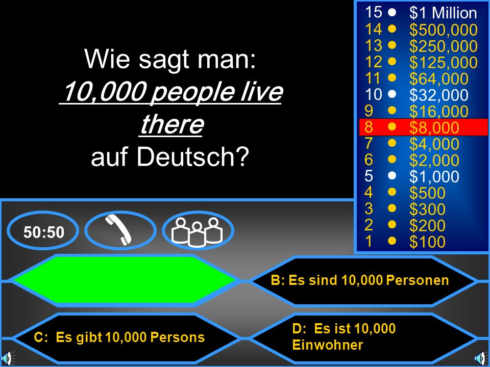 Wie sagt man: 10,000 people live there auf Deutsch 15 $1 Million 14