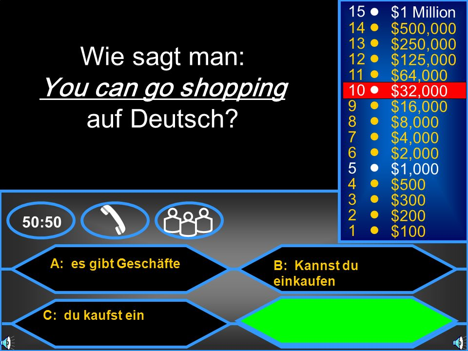 Wie sagt man: You can go shopping auf Deutsch 15 $1 Million 14
