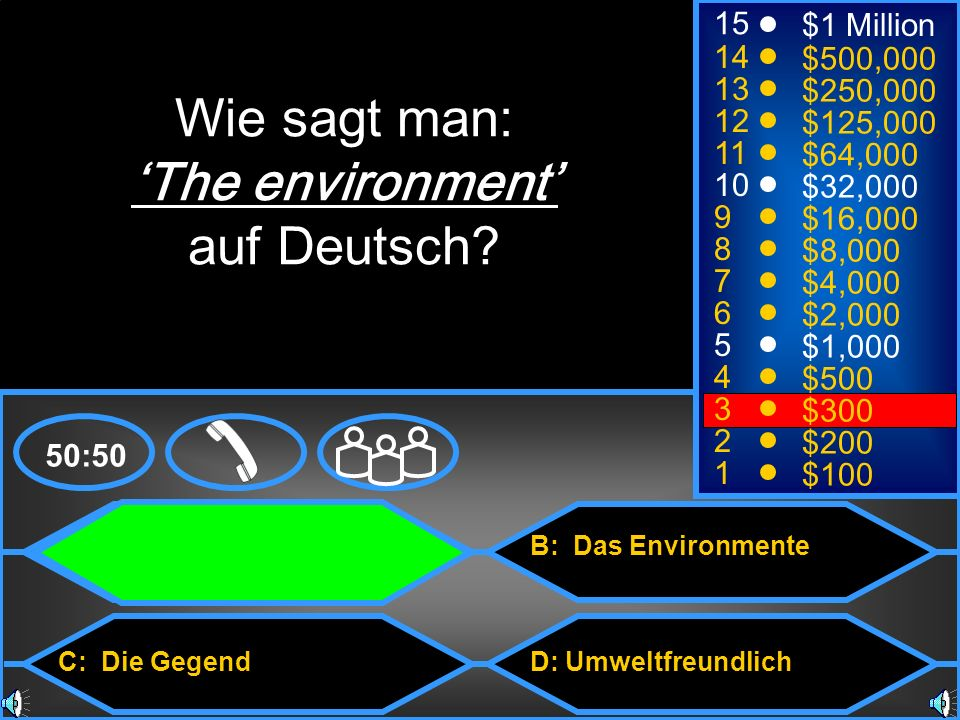 Wie sagt man: 'The environment' auf Deutsch 15 $1 Million 14 $500,000