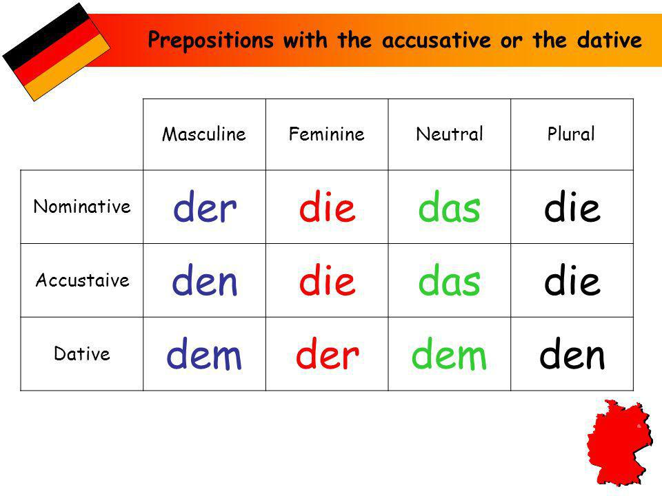 der die das den dem Prepositions with the accusative or the dative
