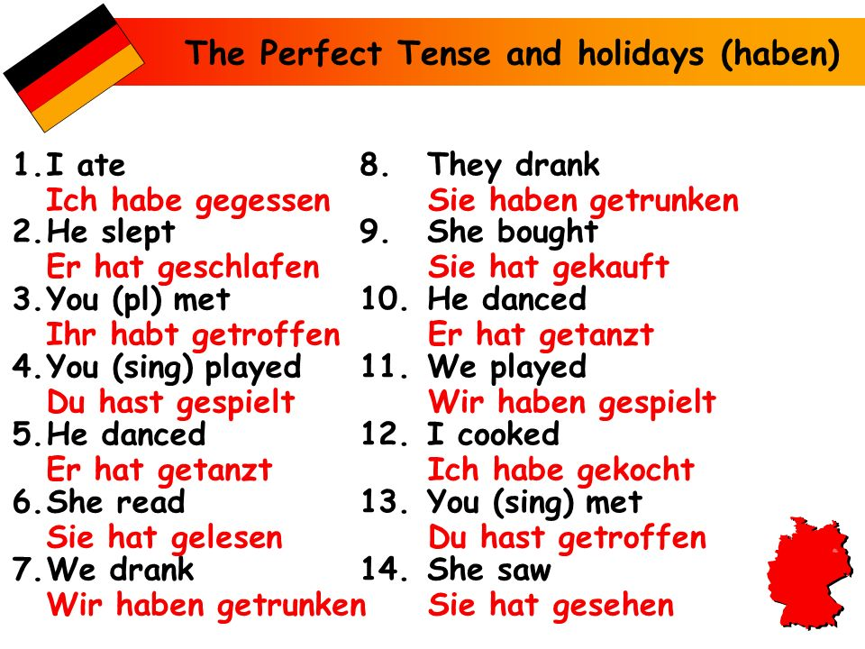 The Perfect Tense and holidays (haben)