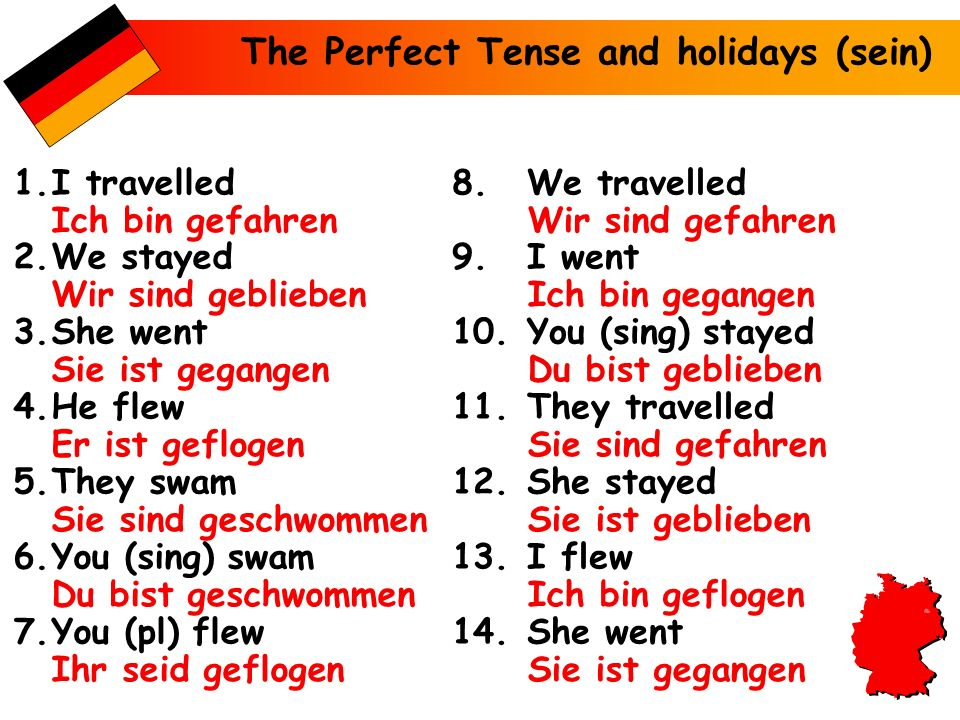 The Perfect Tense and holidays (sein)