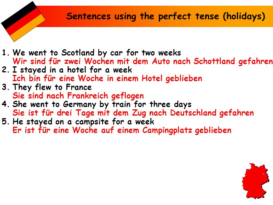 Sentences using the perfect tense (holidays)