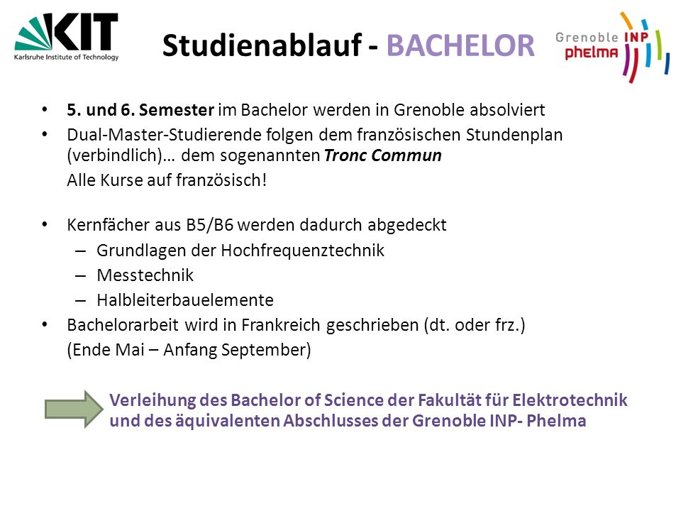 Studienablauf - BACHELOR