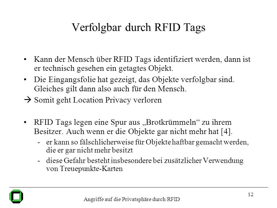 Verfolgbar durch RFID Tags
