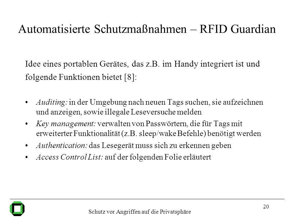 Automatisierte Schutzmaßnahmen – RFID Guardian