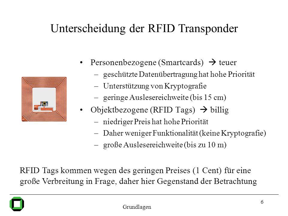 Unterscheidung der RFID Transponder