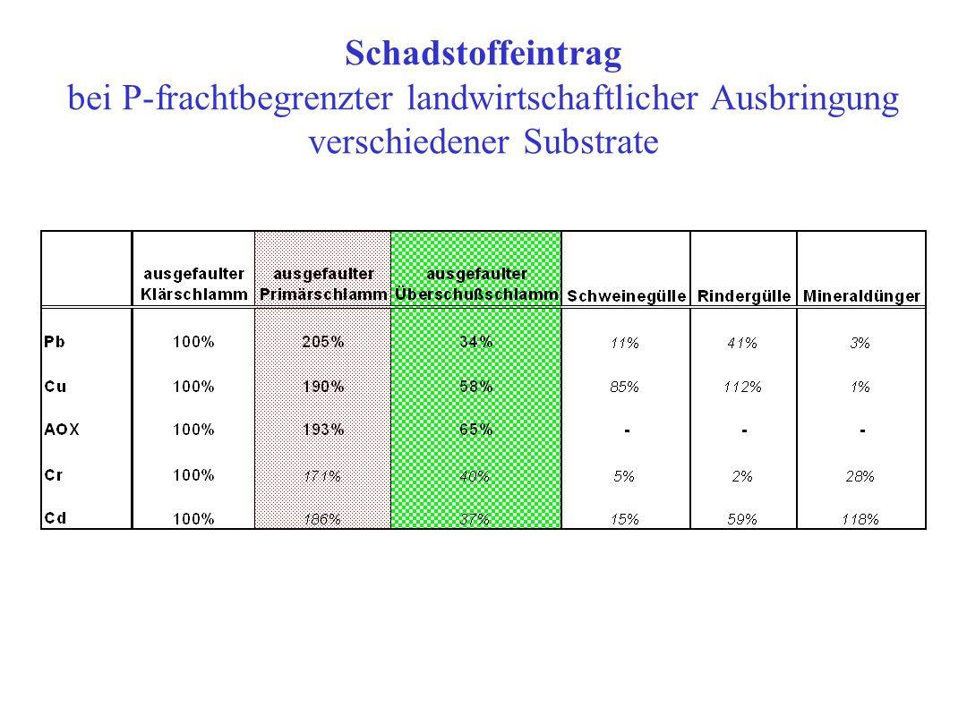 Schadstoffeintrag bei P-frachtbegrenzter landwirtschaftlicher Ausbringung verschiedener Substrate