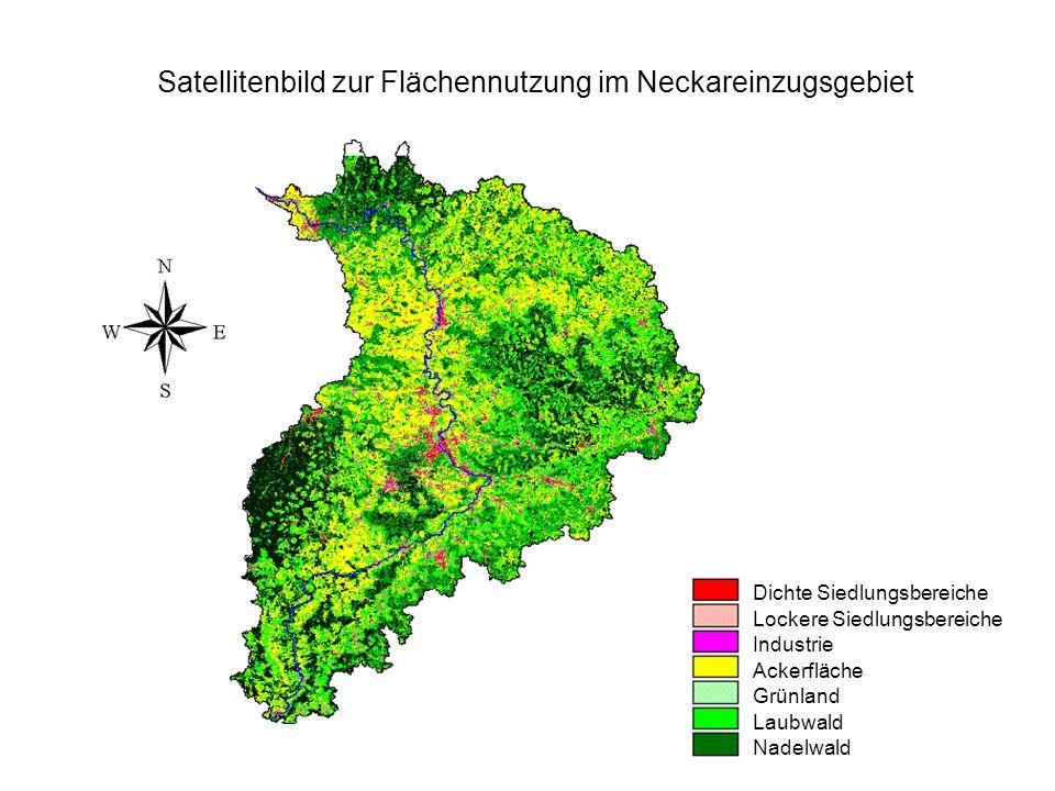 Satellitenbild zur Flächennutzung im Neckareinzugsgebiet