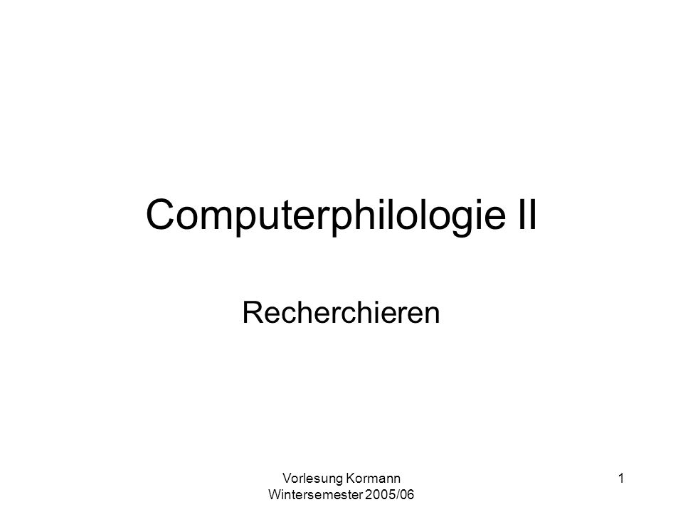 Computerphilologie II