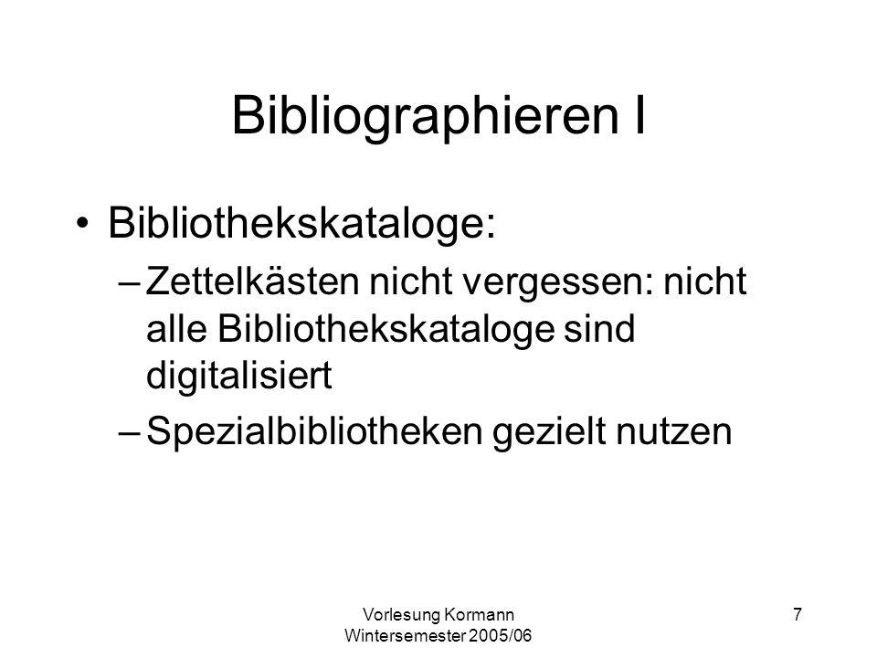 Vorlesung Kormann Wintersemester 2005/06