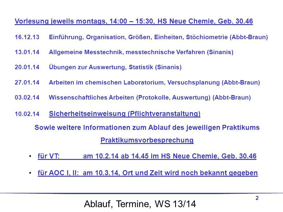 Vorlesung jeweils montags, 14:00 – 15:30, HS Neue Chemie, Geb. 30.46