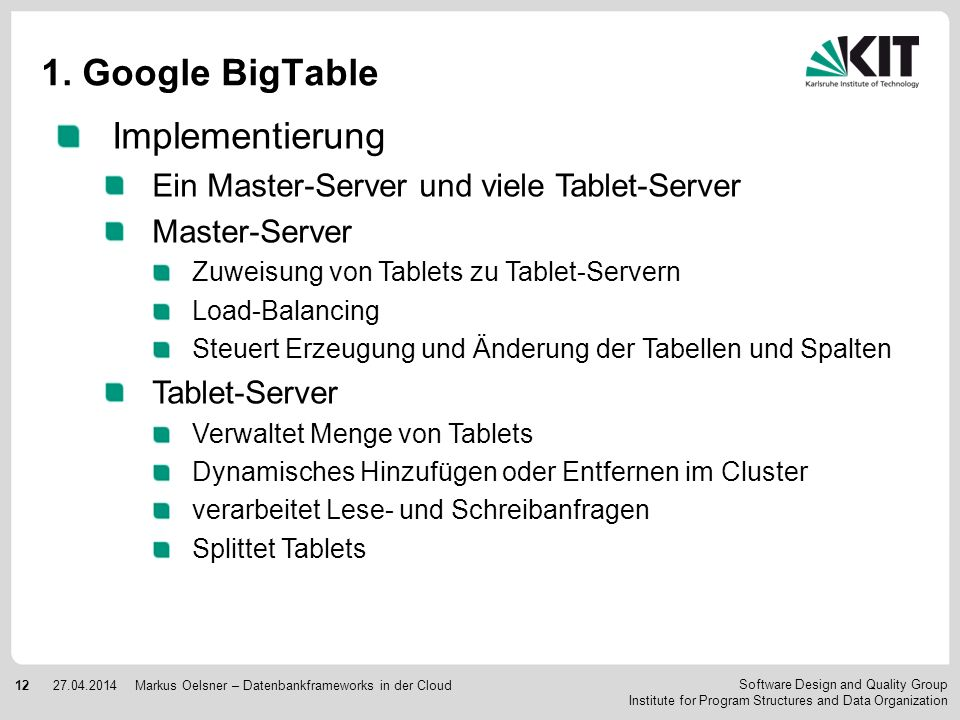 1. Google BigTable Implementierung
