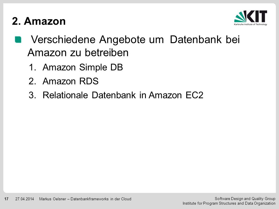 Verschiedene Angebote um Datenbank bei Amazon zu betreiben